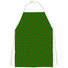 Red Stars On Christmas Green Background Full Print Aprons by PodArtist