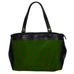 Red Stars On Christmas Green Background Office Handbags by PodArtist