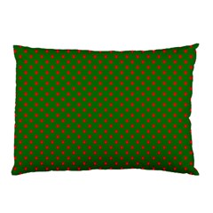 Red Stars On Christmas Green Background Pillow Case (two Sides) by PodArtist