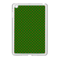 Red Stars On Christmas Green Background Apple Ipad Mini Case (white) by PodArtist