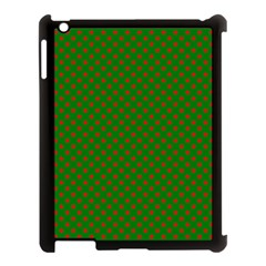 Red Stars On Christmas Green Background Apple Ipad 3/4 Case (black) by PodArtist