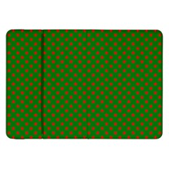 Red Stars On Christmas Green Background Samsung Galaxy Tab 8 9  P7300 Flip Case by PodArtist