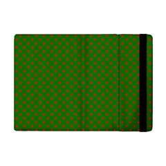 Red Stars On Christmas Green Background Ipad Mini 2 Flip Cases by PodArtist
