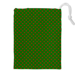 Red Stars On Christmas Green Background Drawstring Pouches (xxl) by PodArtist
