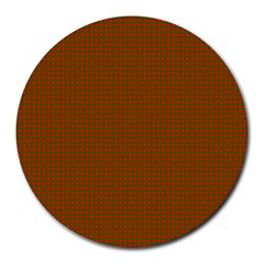 Classic Christmas Red And Green Houndstooth Check Pattern Round Mousepads