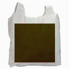 Large Red Christmas Hearts On Green Recycle Bag (two Side)  by PodArtist