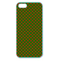 Large Red Christmas Hearts On Green Apple Seamless Iphone 5 Case (color) by PodArtist