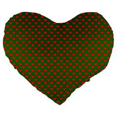Large Red Christmas Hearts On Green Large 19  Premium Heart Shape Cushions by PodArtist