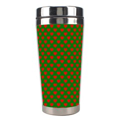 Large Red Christmas Hearts On Green Stainless Steel Travel Tumblers by PodArtist