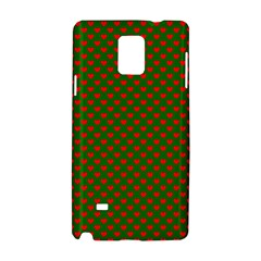 Large Red Christmas Hearts On Green Samsung Galaxy Note 4 Hardshell Case by PodArtist
