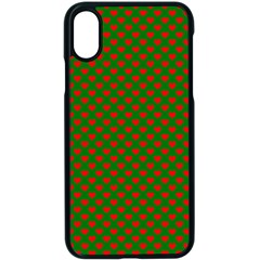 Large Red Christmas Hearts On Green Apple Iphone X Seamless Case (black) by PodArtist