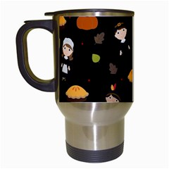 Pilgrims And Indians Pattern   Thanksgiving Travel Mugs (white) by Valentinaart