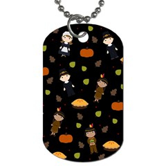 Pilgrims And Indians Pattern   Thanksgiving Dog Tag (one Side) by Valentinaart