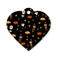Pilgrims And Indians Pattern   Thanksgiving Dog Tag Heart (one Side)
