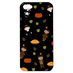 Pilgrims And Indians Pattern   Thanksgiving Apple Iphone 5 Hardshell Case by Valentinaart