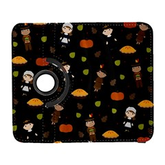 Pilgrims And Indians Pattern   Thanksgiving Galaxy S3 (flip/folio) by Valentinaart