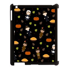 Pilgrims And Indians Pattern   Thanksgiving Apple Ipad 3/4 Case (black)