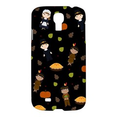Pilgrims And Indians Pattern   Thanksgiving Samsung Galaxy S4 I9500/i9505 Hardshell Case by Valentinaart