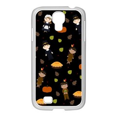 Pilgrims And Indians Pattern   Thanksgiving Samsung Galaxy S4 I9500/ I9505 Case (white) by Valentinaart