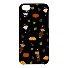 Pilgrims And Indians Pattern   Thanksgiving Apple Iphone 5c Hardshell Case by Valentinaart