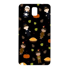 Pilgrims And Indians Pattern   Thanksgiving Samsung Galaxy Note 3 N9005 Hardshell Back Case by Valentinaart