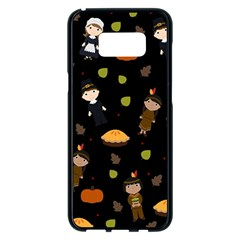 Pilgrims And Indians Pattern - Thanksgiving Samsung Galaxy S8 Plus Black Seamless Case by Valentinaart