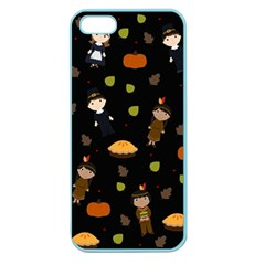 Pilgrims And Indians Pattern   Thanksgiving Apple Seamless Iphone 5 Case (color)