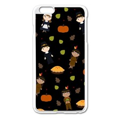 Pilgrims And Indians Pattern   Thanksgiving Apple Iphone 6 Plus/6s Plus Enamel White Case by Valentinaart