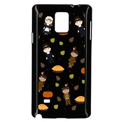 Pilgrims And Indians Pattern - Thanksgiving Samsung Galaxy Note 4 Case (black) by Valentinaart