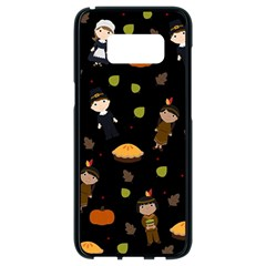 Pilgrims And Indians Pattern   Thanksgiving Samsung Galaxy S8 Black Seamless Case by Valentinaart