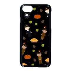 Pilgrims And Indians Pattern   Thanksgiving Apple Iphone 8 Seamless Case (black) by Valentinaart