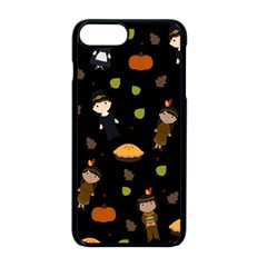 Pilgrims And Indians Pattern   Thanksgiving Apple Iphone 8 Plus Seamless Case (black) by Valentinaart