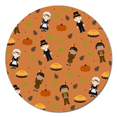 Pilgrims And Indians Pattern   Thanksgiving Magnet 5  (round) by Valentinaart