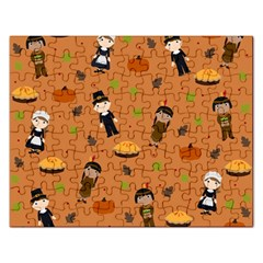 Pilgrims And Indians Pattern   Thanksgiving Rectangular Jigsaw Puzzl by Valentinaart