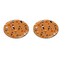Pilgrims And Indians Pattern   Thanksgiving Cufflinks (oval) by Valentinaart