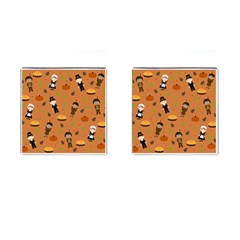 Pilgrims And Indians Pattern   Thanksgiving Cufflinks (square) by Valentinaart