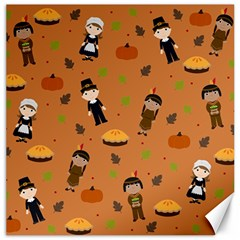 Pilgrims And Indians Pattern   Thanksgiving Canvas 12  X 12
