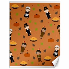 Pilgrims And Indians Pattern   Thanksgiving Canvas 36  X 48   by Valentinaart