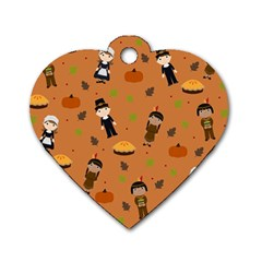 Pilgrims And Indians Pattern   Thanksgiving Dog Tag Heart (two Sides)