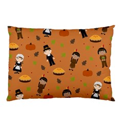 Pilgrims And Indians Pattern   Thanksgiving Pillow Case by Valentinaart