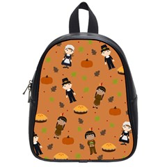 Pilgrims And Indians Pattern   Thanksgiving School Bag (small) by Valentinaart
