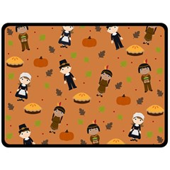 Pilgrims And Indians Pattern   Thanksgiving Fleece Blanket (large)  by Valentinaart