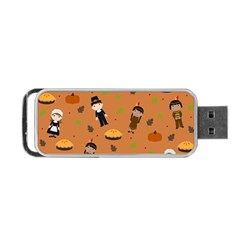 Pilgrims And Indians Pattern   Thanksgiving Portable Usb Flash (two Sides) by Valentinaart