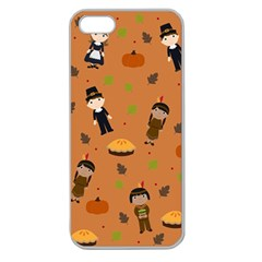 Pilgrims And Indians Pattern   Thanksgiving Apple Seamless Iphone 5 Case (clear)