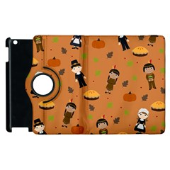 Pilgrims And Indians Pattern   Thanksgiving Apple Ipad 2 Flip 360 Case by Valentinaart