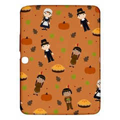 Pilgrims And Indians Pattern   Thanksgiving Samsung Galaxy Tab 3 (10 1 ) P5200 Hardshell Case