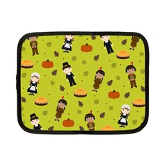 Pilgrims And Indians Pattern   Thanksgiving Netbook Case (small)  by Valentinaart