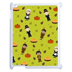 Pilgrims And Indians Pattern   Thanksgiving Apple Ipad 2 Case (white) by Valentinaart