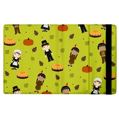 Pilgrims And Indians Pattern   Thanksgiving Apple Ipad 3/4 Flip Case by Valentinaart