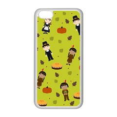 Pilgrims And Indians Pattern   Thanksgiving Apple Iphone 5c Seamless Case (white) by Valentinaart